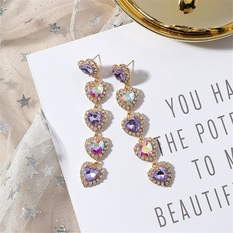 Multicolor Sparkly Heart Rhinestone Dangling Fashion Earrings
