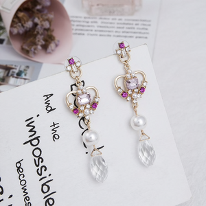 Korean Style Pearl Crystal Dangle Fashion Earrings