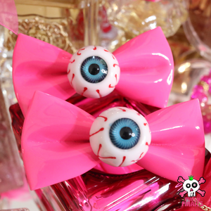 Harajuku Creepy Goth Eyeball Hairbow Clips -PINK