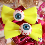 Harajuku Creepy Goth Eyeball Hairbow Clips - YELLOW
