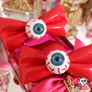 Harajuku Creepy Goth Eyeball Hairbow Clips -RED