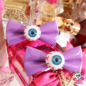 Harajuku Creepy Goth Eyeball Hairbow Clips -PURPLE