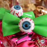 Harajuku Creepy Goth Eyeball Hairbow Clips-GREEN