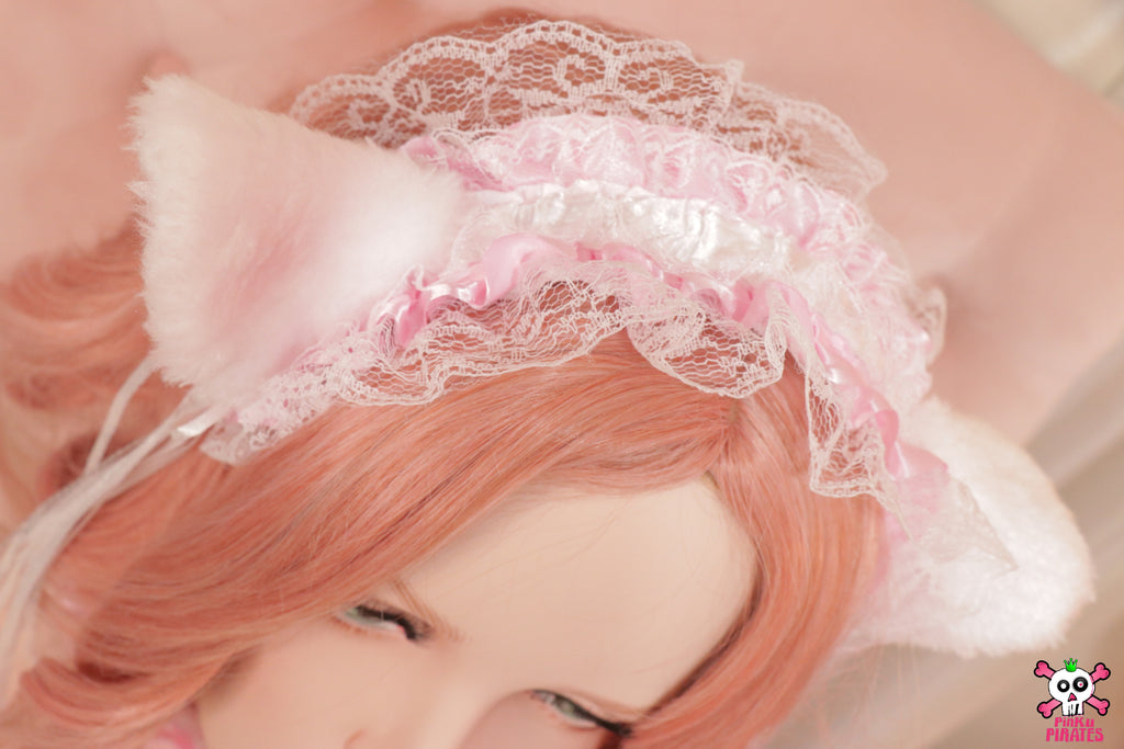 White Princess Cat Ears Headband & Tail Set