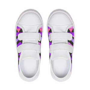Purple kente Little Kids Velcro Sneaker - kemetistry
