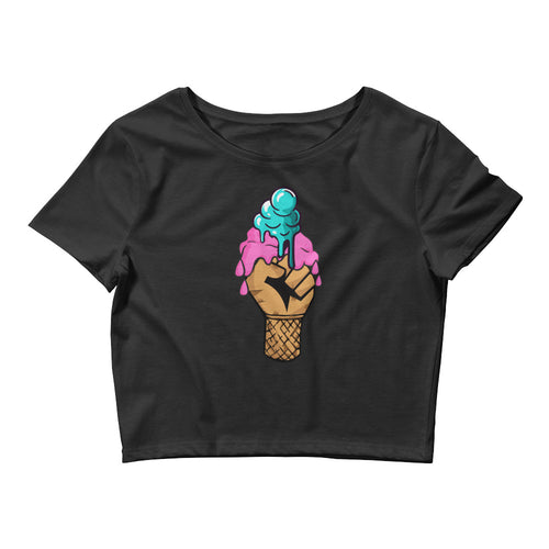 Ice-cream Fist Of Justice Crop Tee - kemetistry