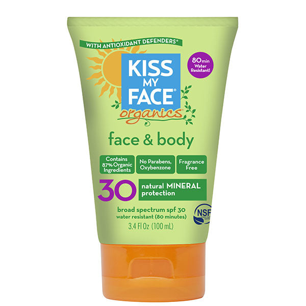 Kiss My Face Body & Face Mineral Spf 30 Natural Organic Sunscreen