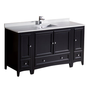 "Fresca Oxford 60"" Espresso Traditional Bathroom Cabinets w/ Top & Sink"