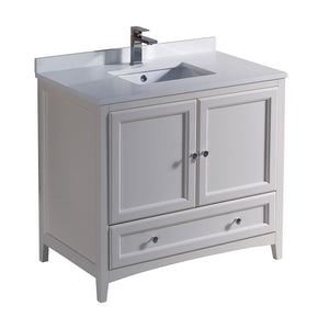 "Fresca Oxford 36"" Antique White Traditional Bathroom Cabinet w/ Top & Sink"