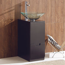 "Fresca Brilliante 17"" Espresso Modern Bathroom Cabinet w/ Vessel Sink"
