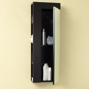 Fresca Espresso Bathroom Linen Side Cabinet w/ Large Mirror Door