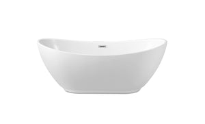 "62"" Streamline N-580-62FSWH-FM Soaking Freestanding Tub With Internal Drain"