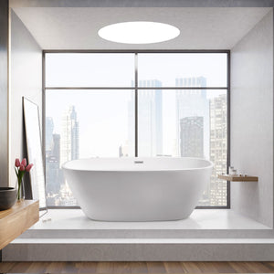 "59"" Streamline N-700-59FSWH-FM Soaking Freestanding Tub With Internal Drain"