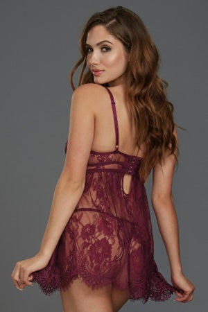 Eyelash Lace Babydoll With Satin Elastic Detailing