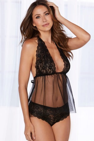 Retro Lace And Mesh Flyaway Babydoll