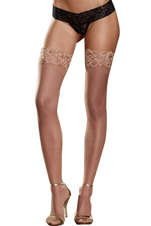 Nude Sheer Lace Top Thigh High