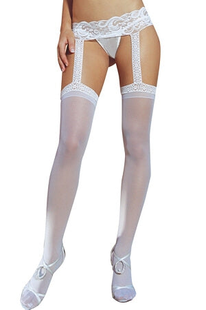 Sheer Garter Belt White Pantyhose