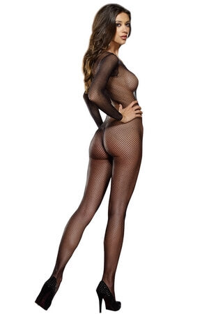 100% Nylon Long Sleeve Fishnet Bodystocking