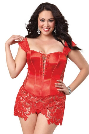 Queen Red Venetian Corset Set