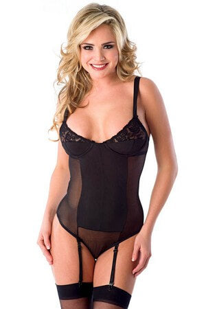 Gartered Underwire Teddy w/ Cut Out Back