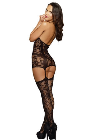Floral Fishnet Stocking Dress