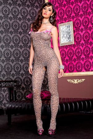Leopard Print Bodystocking With Satin Bow
