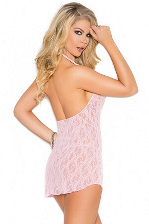 Baby Pink Lace Mini Dress