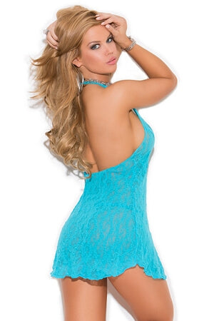 Turquoise Halter Mini Dress Queen