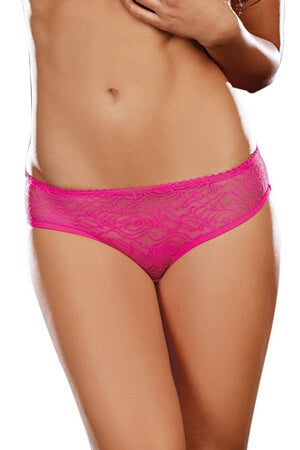 Hot Pink Crotchless Lace Panty