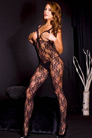Black Lace Peek-A-Boo Bodystocking