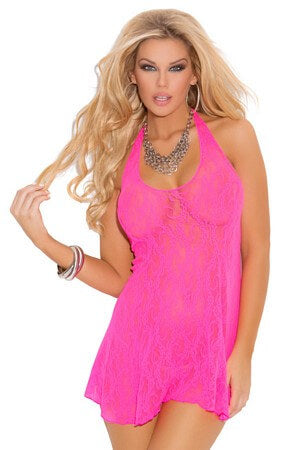 Queen Pink Lace Halter Mini Dress