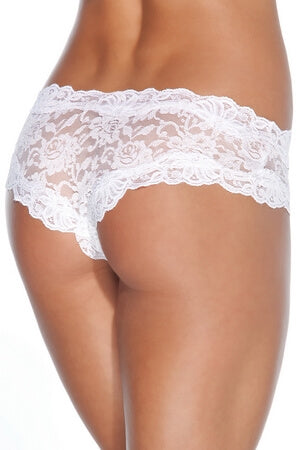 White Floral Lace Crotchless Diva Panty