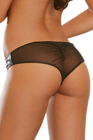 Faux Leather Zipper Panty