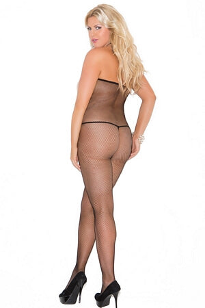 Fishnet Halter Peek-A-Boo Body Stocking