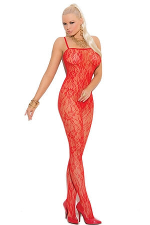 Red Lace Open Crotch Bodystocking