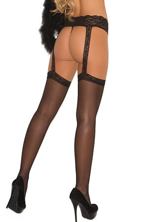 Sleek Sheer Thigh High & Garter Belt Set