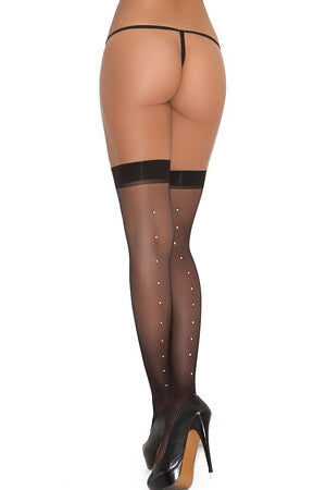 Enticing Thigh High w/Rhinestone Back Seam