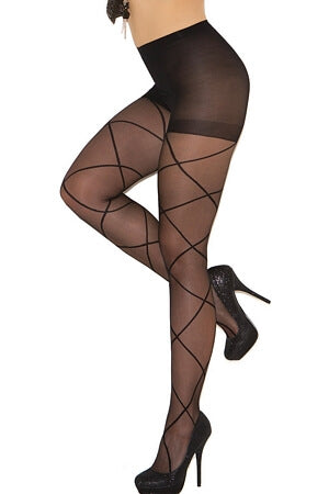 Black Pantyhose with Sheer Criss Cross Detail Queen