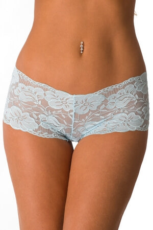 Plus Baby Blue Lace In Love Boyshort