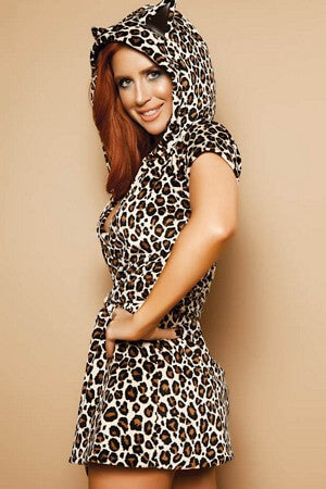 Leopard Print Hooded Cover Up - LingerieDiva