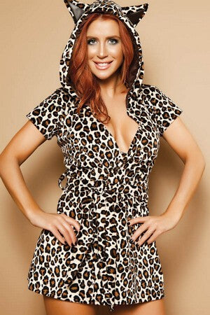 Leopard Print Hooded Cover Up