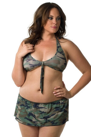 Plus Camo Kink Crop Halter Set