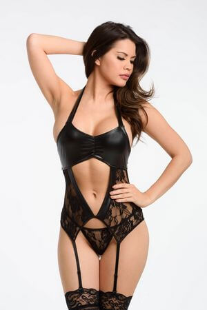Leather Meets Lace Teddy - LingerieDiva