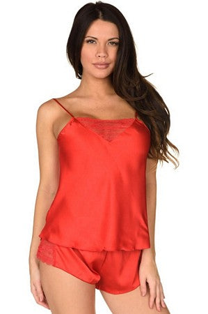 Red Sensual Satin Cami Set