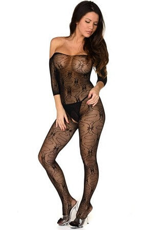 Off The Shoulder Bow Bodystocking