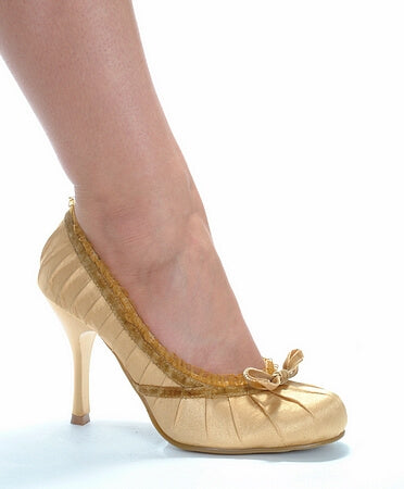 4 inch Heel Satin Pump With Velvet Bow