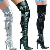 Stretch Thigh Boot With Buckles - LingerieDiva