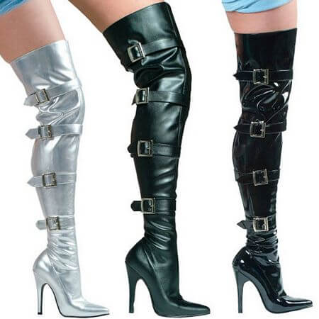 Stretch Thigh Boot With Buckles