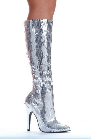 Silver Sequins High Heel Knee Boot