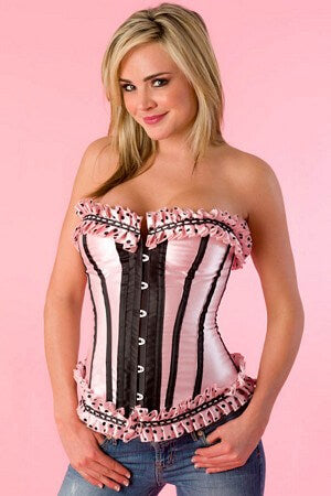 Satin Polka Dot Pleated Ruffle Trim Corset
